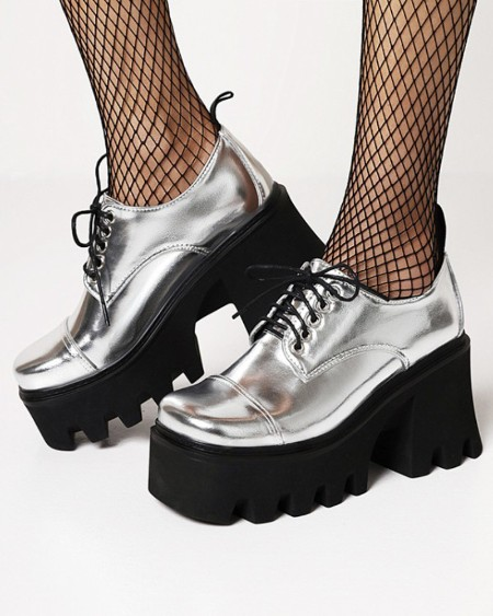 Chic Ladies Round Toe Lace-up Platform Oxford Shoes