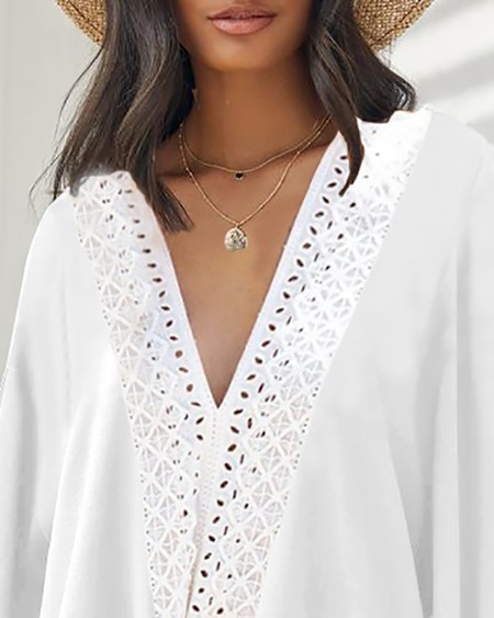 Lace Patch Hollow Out Knotted Lantern Sleeve Top