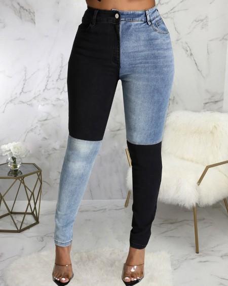 Colorblock Zipper Fly Slant Pocket Stretch Skinny Jeans