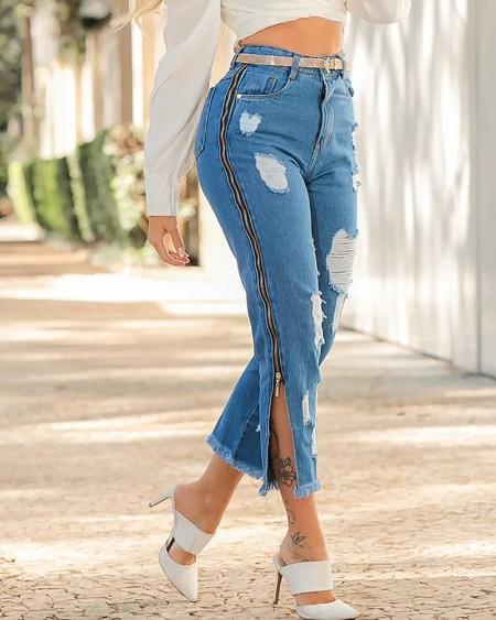 Zipper Design Ripped Fringe Hem Denim Pants