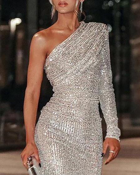 One Shoulder Long Sleeve Allover Sequins Dress