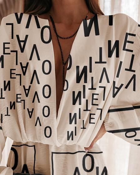 Lantern Sleeve Letter Print Plunge Dress