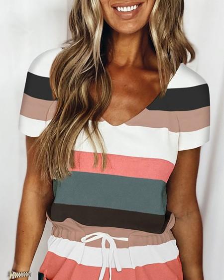 Striped Colorblock Pocket Design Drawstring Dress