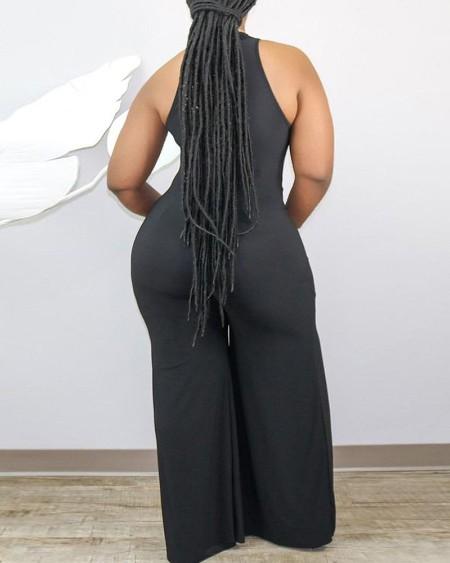 Plus Size Sleeveless Sheer Mesh Plunge Jumpsuit