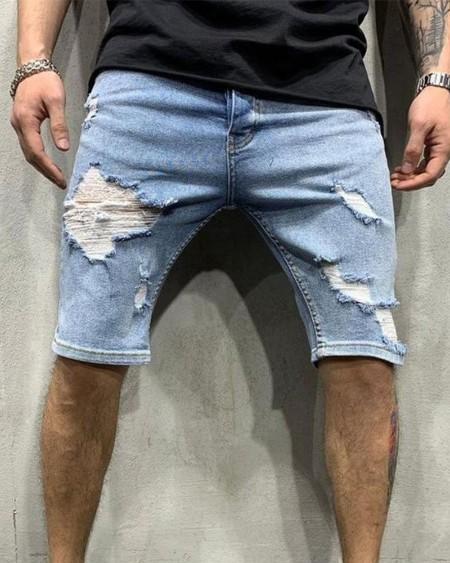 Skinny Ripped Patchwork Denim Short Jeans