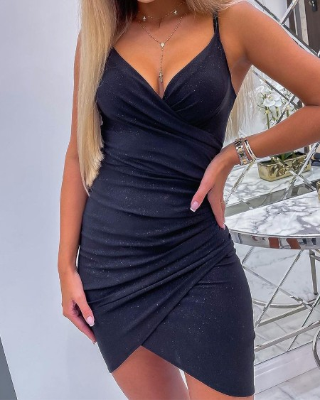 Glitter Ruched Cami Bodycon Dress