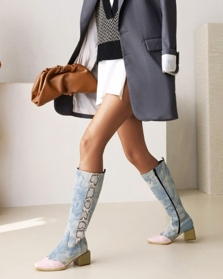 Womens Vintage Patchwork Round Toe Long Boots