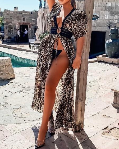 Cheetah Print Cutout Lace Patch Cover Up Dress