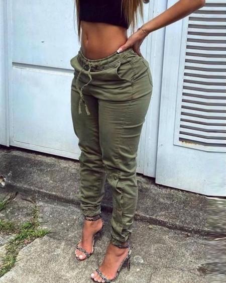 Solid Color Button Drawstring Slant Pockets Denim Pants