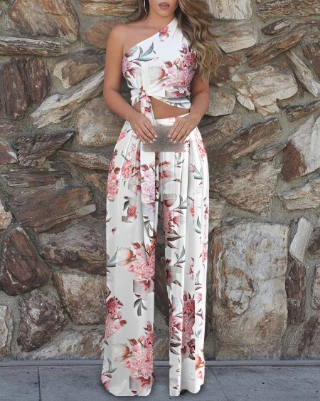 One Shoulder Floral Print Top & High Waist Pant Sets