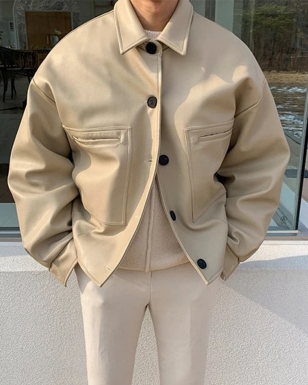 Solid Long Sleeve Button-up Coats Jakcets