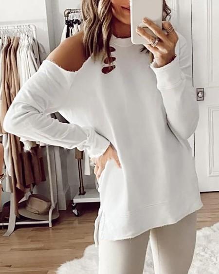 Cold Shoulder Cutout Long Sleeve Top