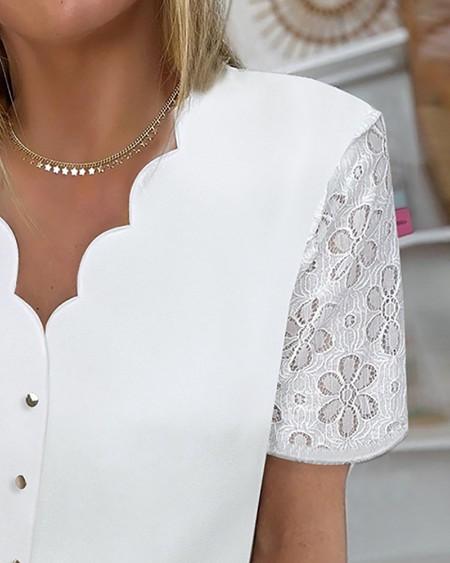 Plain Lace Patchwork Button Design Top