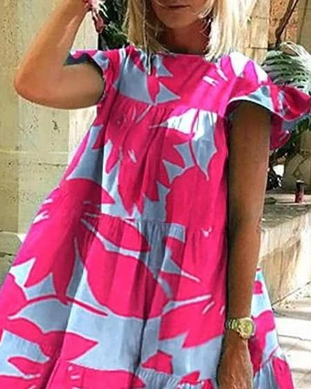 Floral / Daisy / Animal Print Short Sleeve Casual Dress