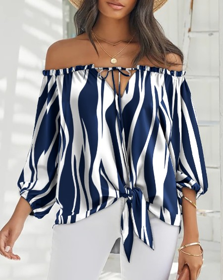 Off Shoulder Striped Print Long Sleeve Top Casual Loose Blouse