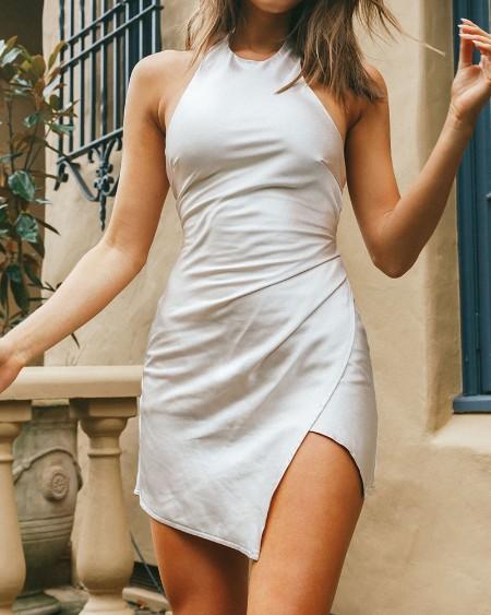 Solid Sleeveless Slip Mini Dress
