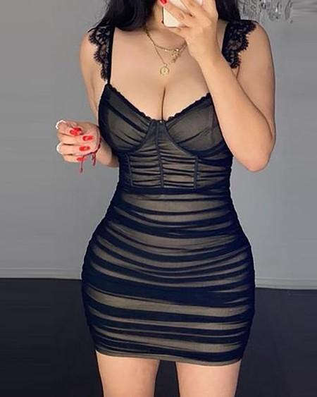 Eyelash Lace Trim Sheer Mesh Ruched Bodycon Dress