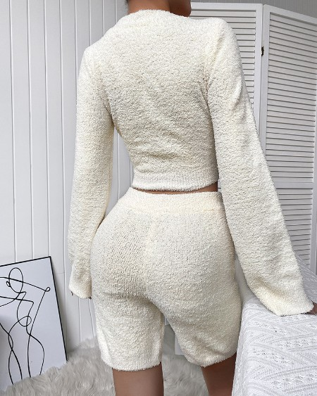 Fluffy Bell Sleeve V Neck Crop Top & Shorts Set