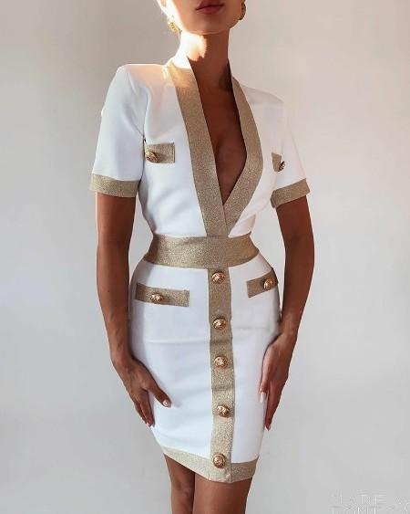 Colorblock Deep V-Neck Tweed Bodycon Dress