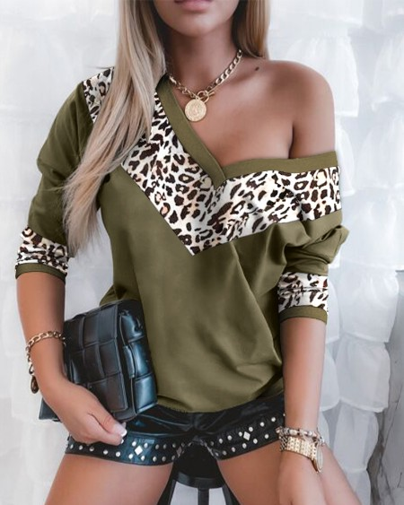 Leopard Print Colorblock Long Sleeve Top