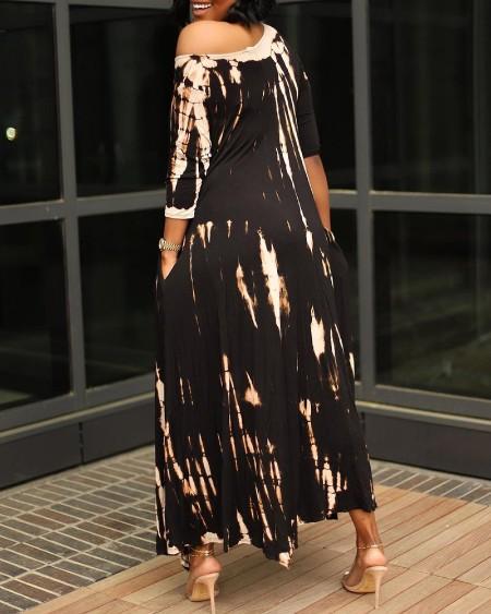 One Shoulder Tie Dye Print Pocket Design Maxi Dress