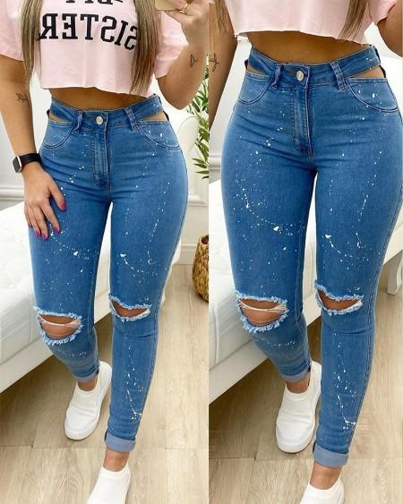 Calça jeans skinny com corte de tinta respingo de cintura alta e rasgados jeans jeans casual calças jeans
