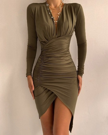 Asymmetrical Ruched Long Sleeve Party Dress