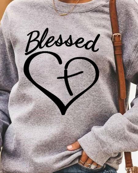 Letter Heart Print Long Sleeve Casual Sweatshirt