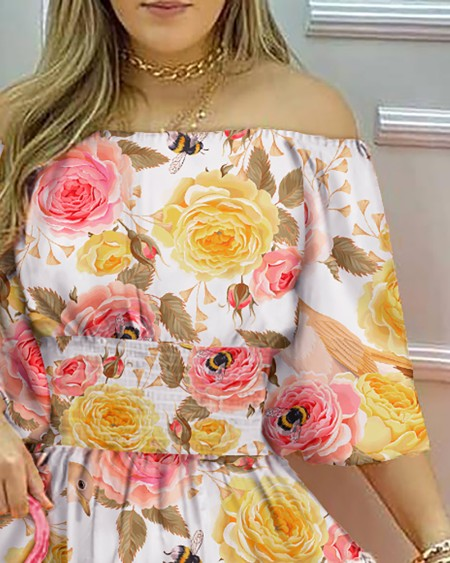 Floral Print Off Shoulder Casual Dress