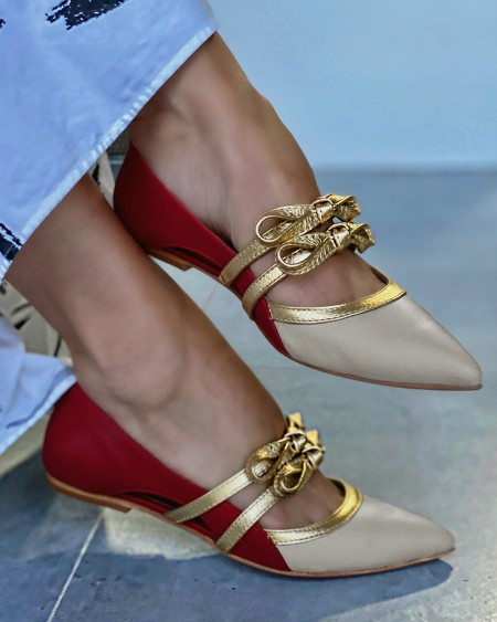 Pointed-toe Color Block Double Straps Bow Flat Slip-on