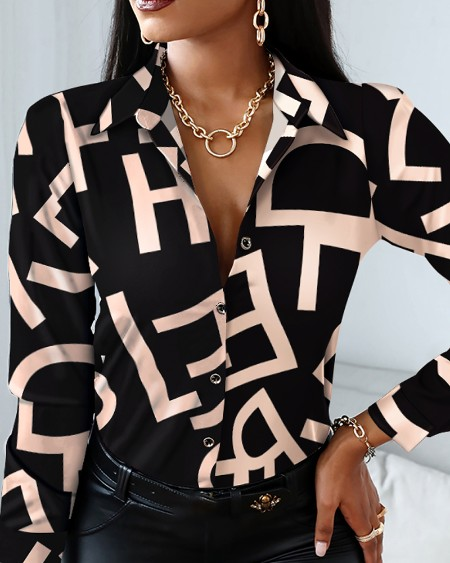 Letter Print Button-up Top