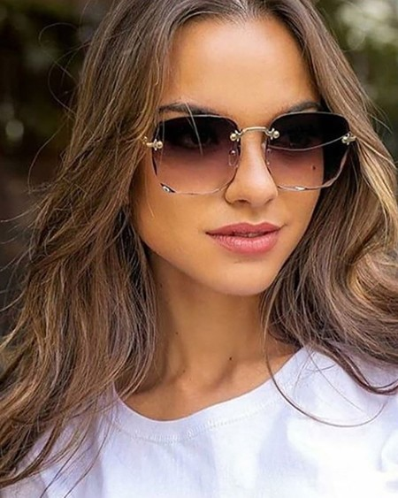 1Pair Square Rimless Ombre Lens Sunglasses
