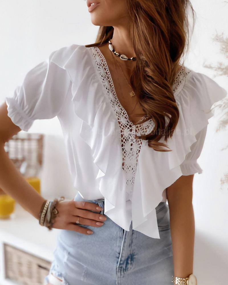 Guipure Lace Patch Ruffles Top, White