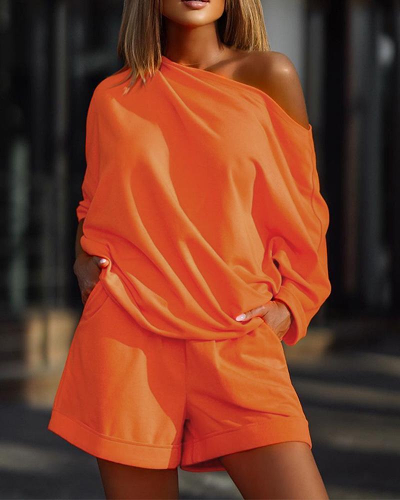 One Shoulder Long Sleeve Top & Pocket Design Shorts Set