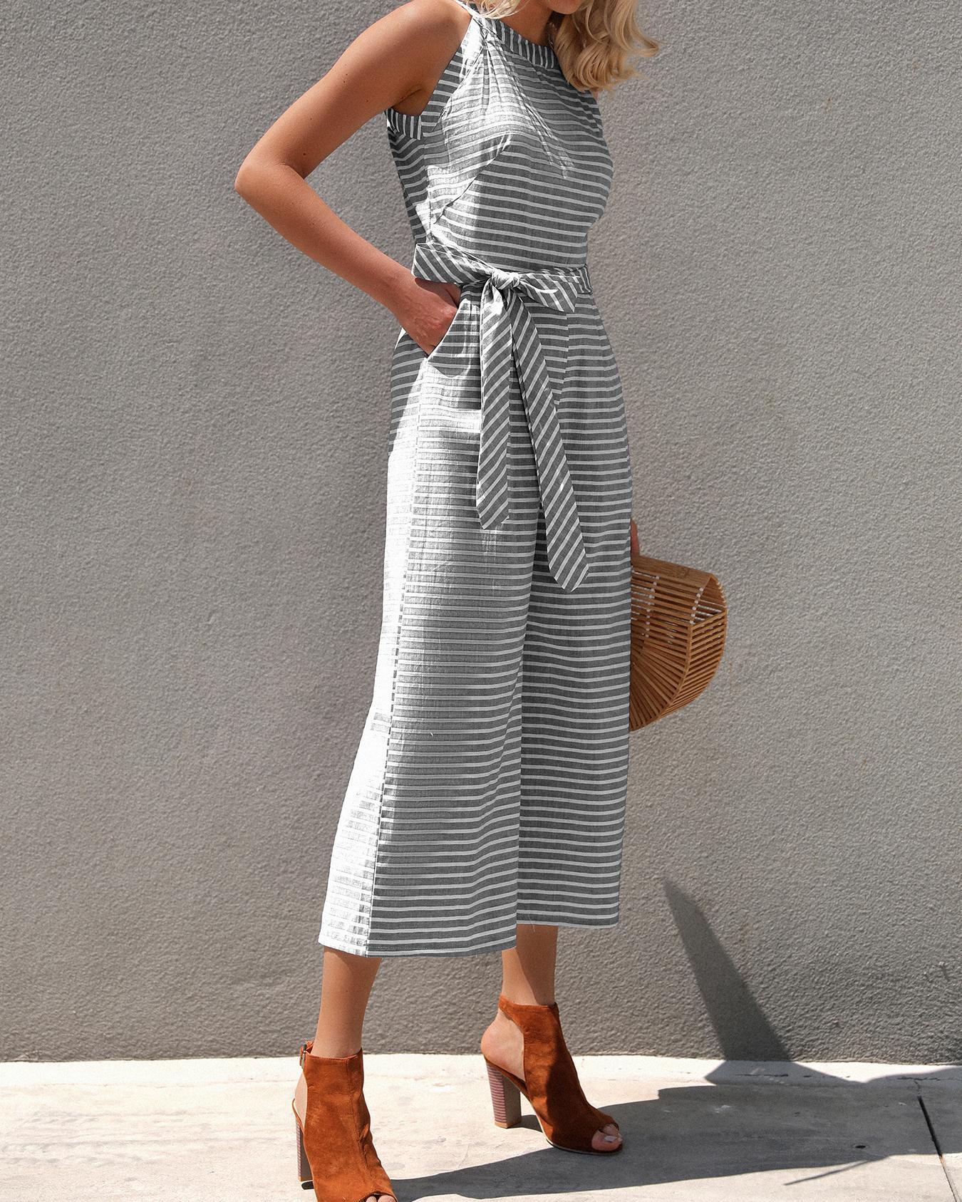 Joyshoetique coupon: Striped Waist Belted Wide Leg Jumpsuit