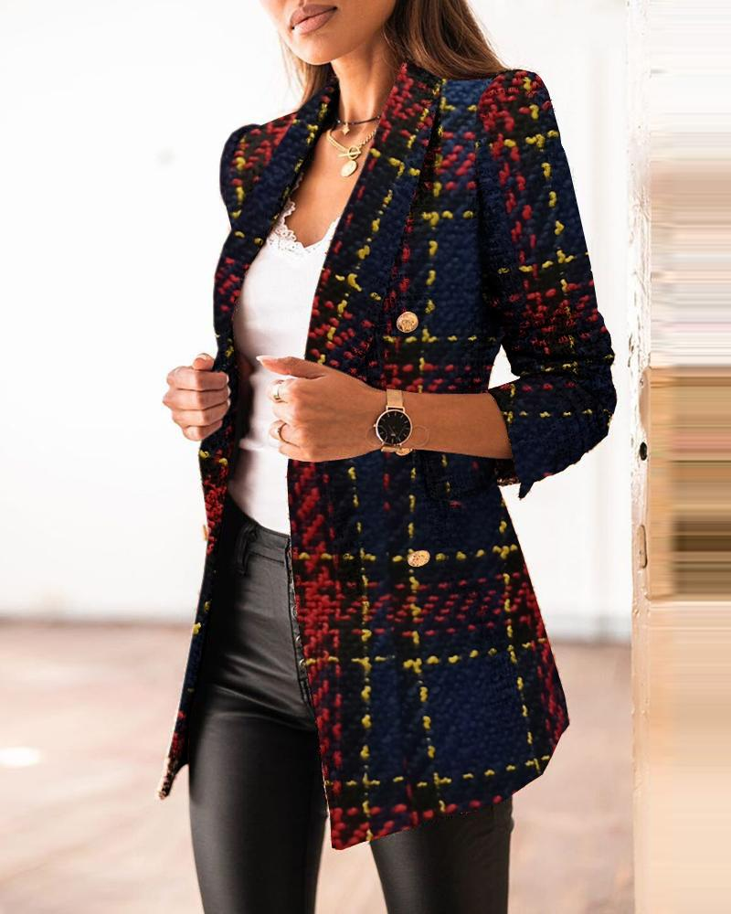 Long Sleeve Button Design Plaid Print Blazer Coat