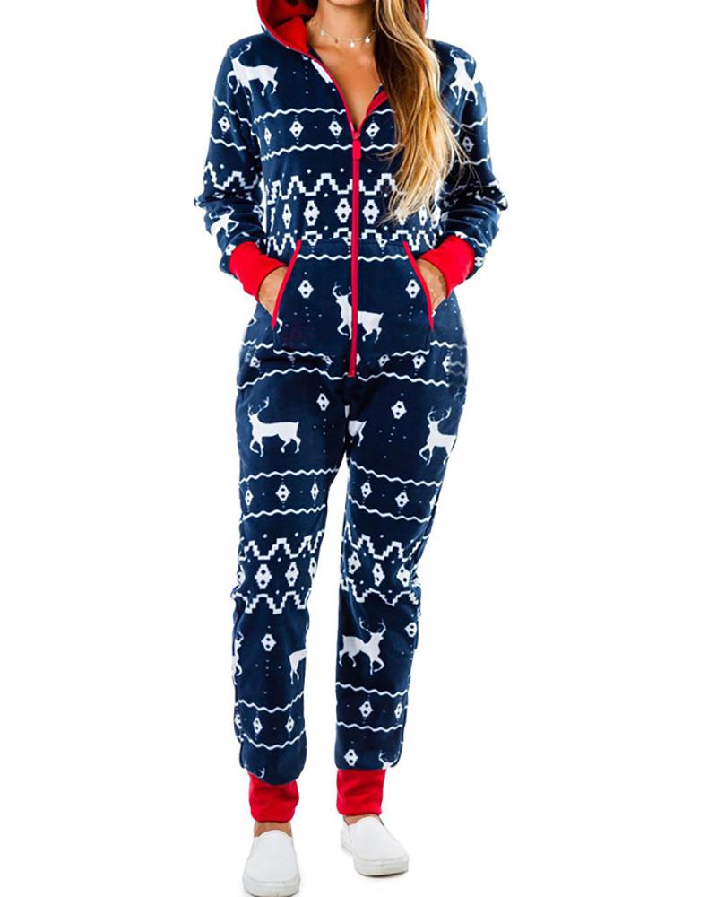 Christmas Zipper Design Long Sleeve Hooded Lounge Jumpsuit