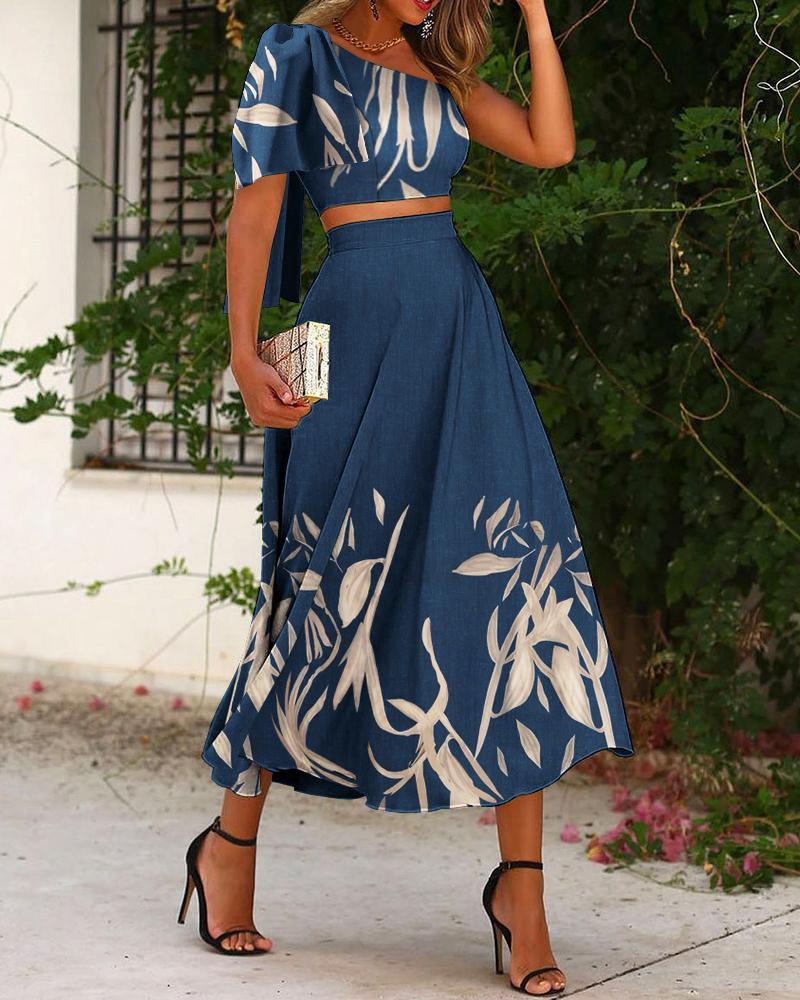 Floral Print One Shoulder Bowknot Crop Top & Skirt Set