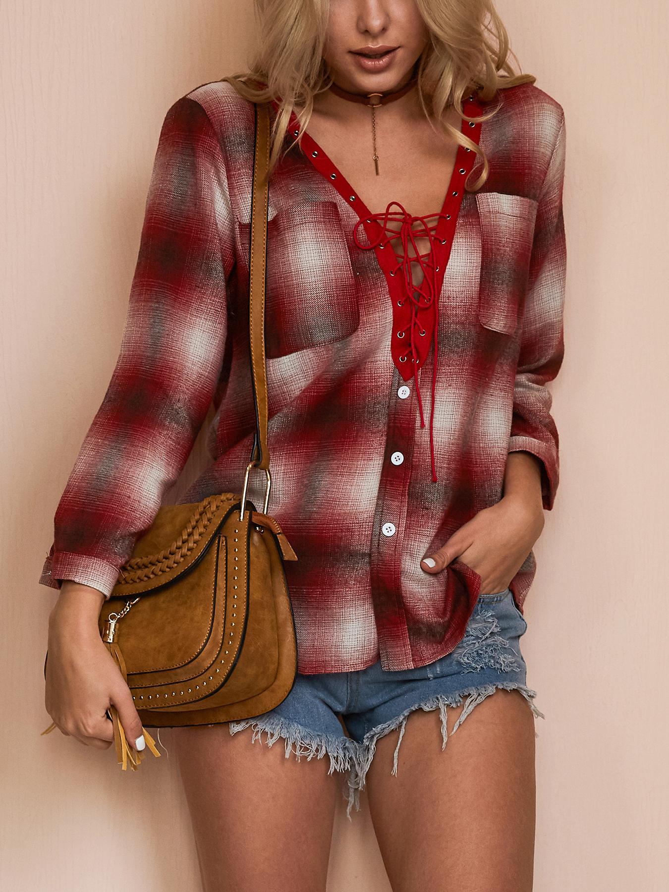 Joyshoetique coupon: Trendy Tartan Lace-up Casual Blouse