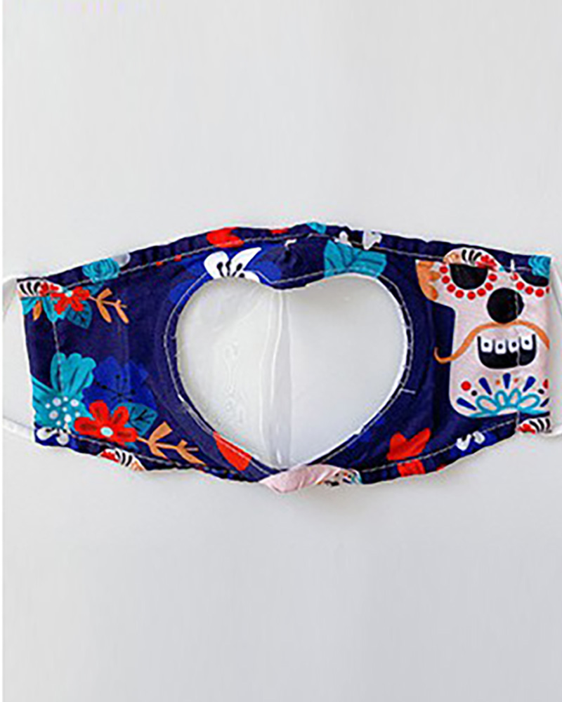 Halloween Themed Happy Ghost Print Visible Face Mask