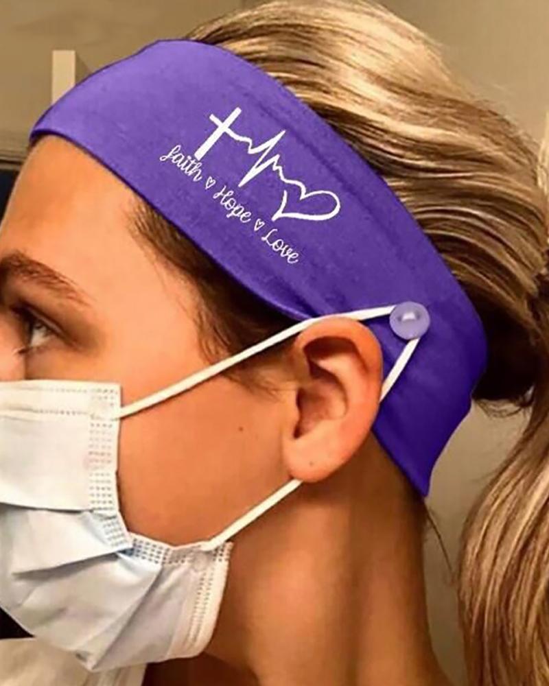 Button Wide Headband Elastic Facemask Holder