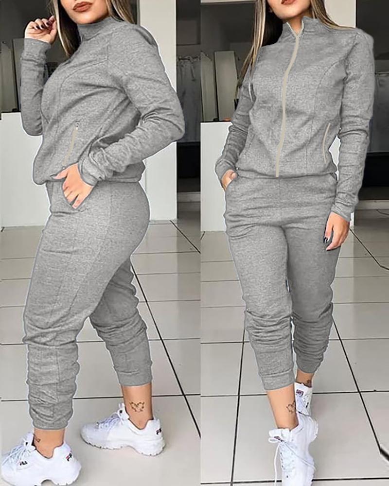 Zipper Design Top & Pocket Design Pants Set thumbnail
