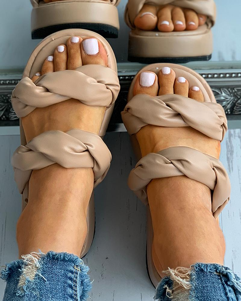 Twisted Double Strap Flatform Slippers