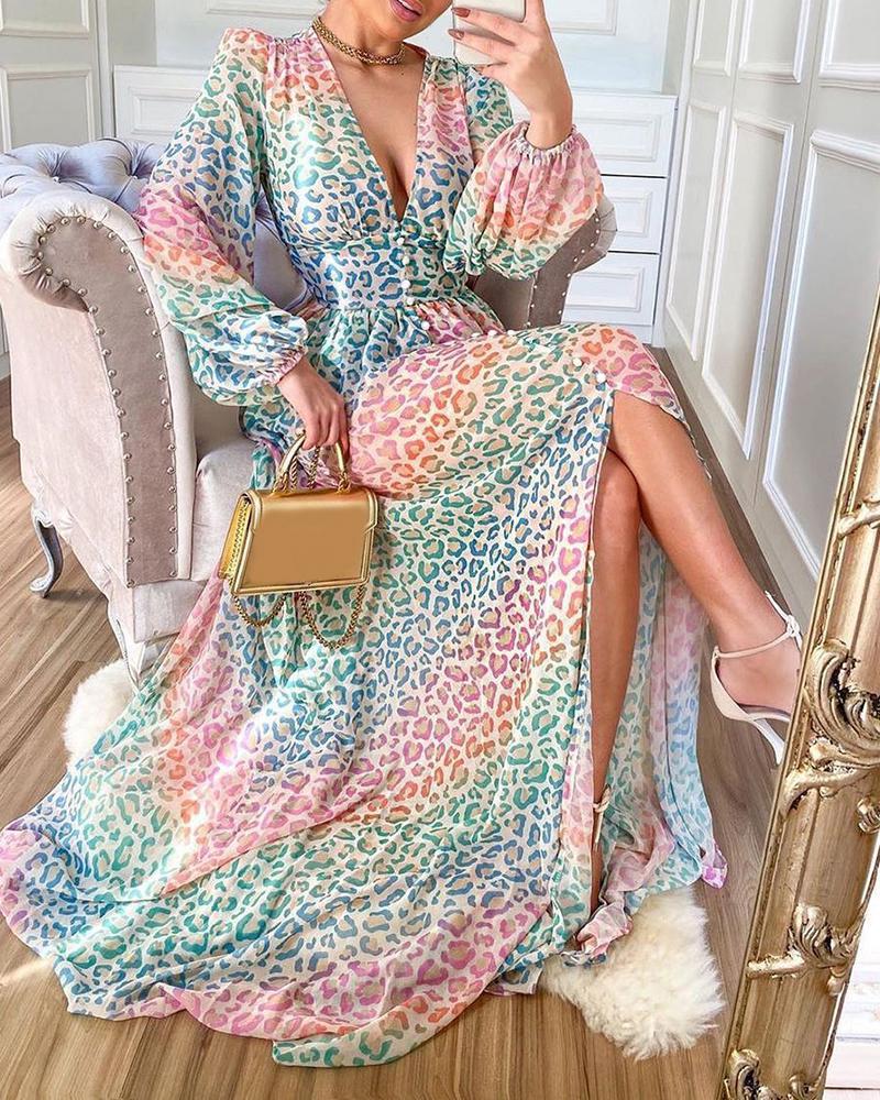 Puff Lantern Sleeve High Slit Colorblock Cheetah Print Dress, Multicolor