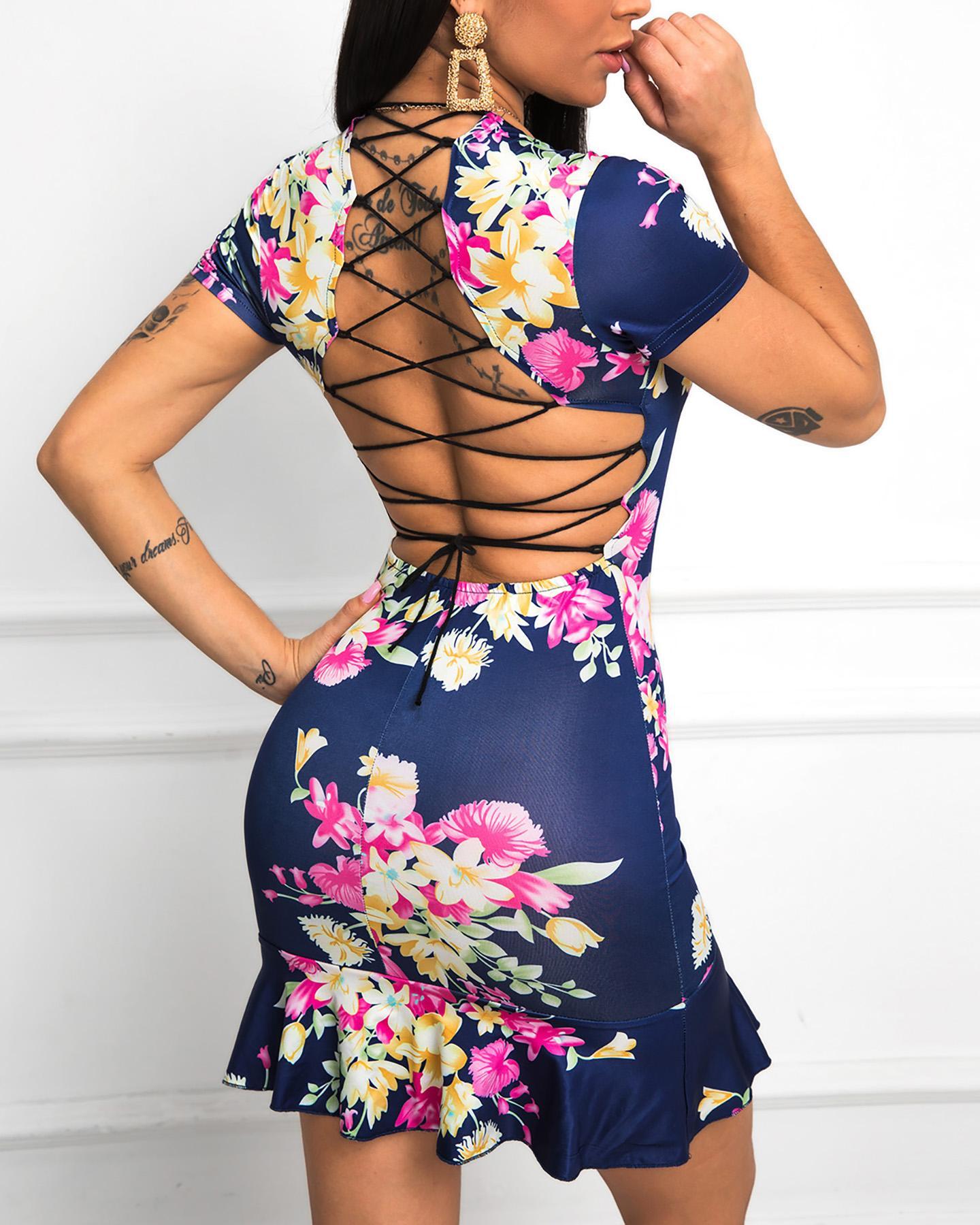 Ruffles Lace-Up Back Bodycon Print Dress