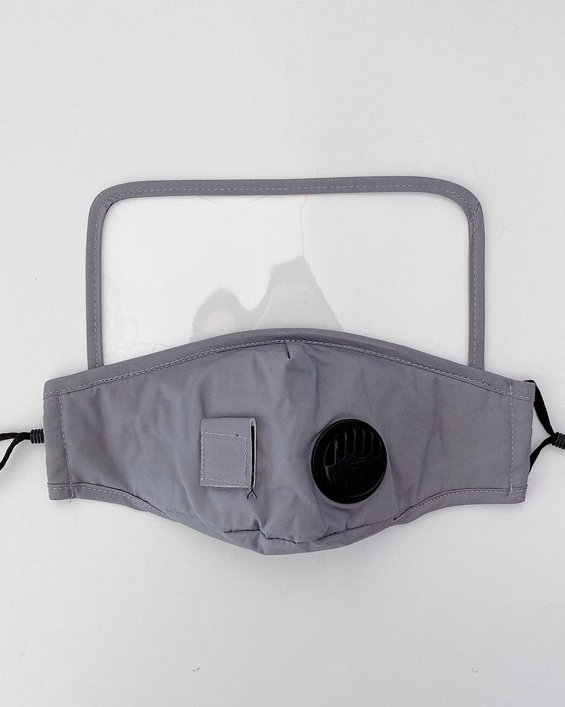 Visible Valve Face Mask With Drinking Straw Hole