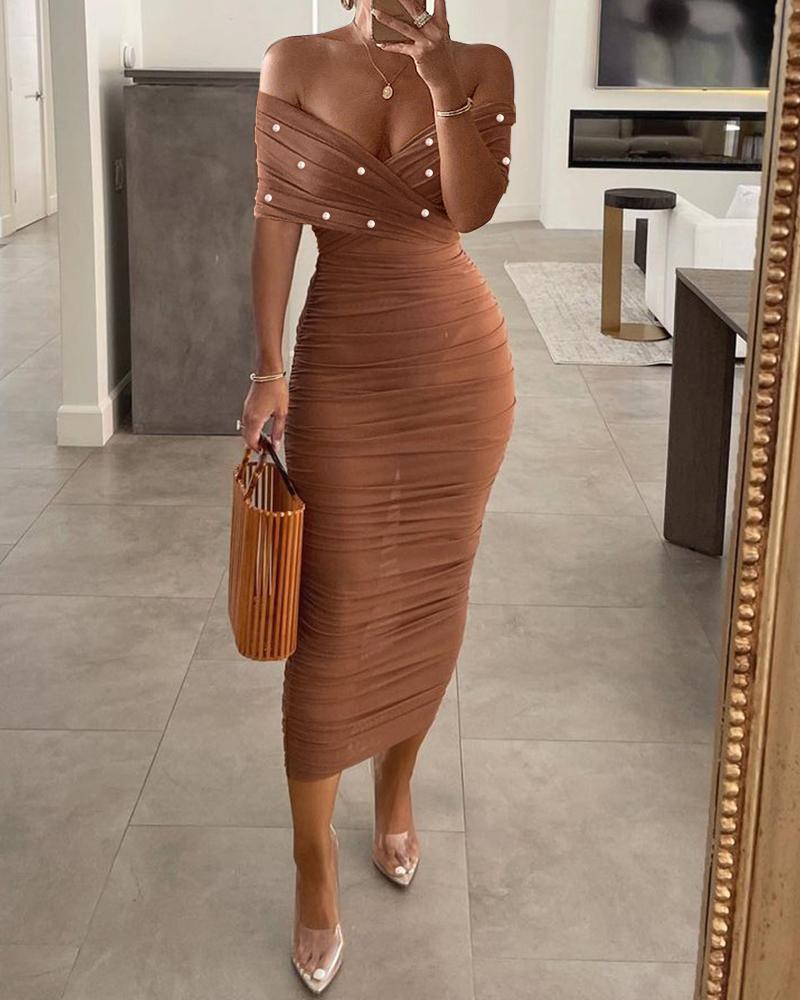 Off Shoulder Beaded Bodysuit & See Through Skirt Set