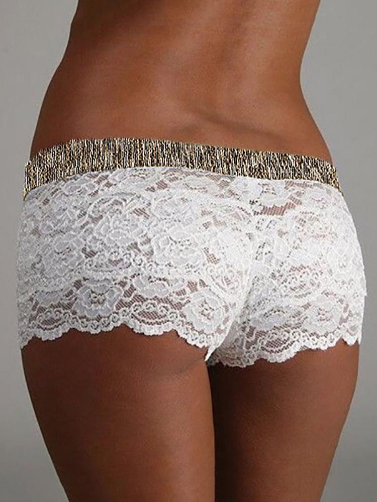 Boutiquefeel coupon: Guipure Lace Elastic Waist Lingerie Shorts
