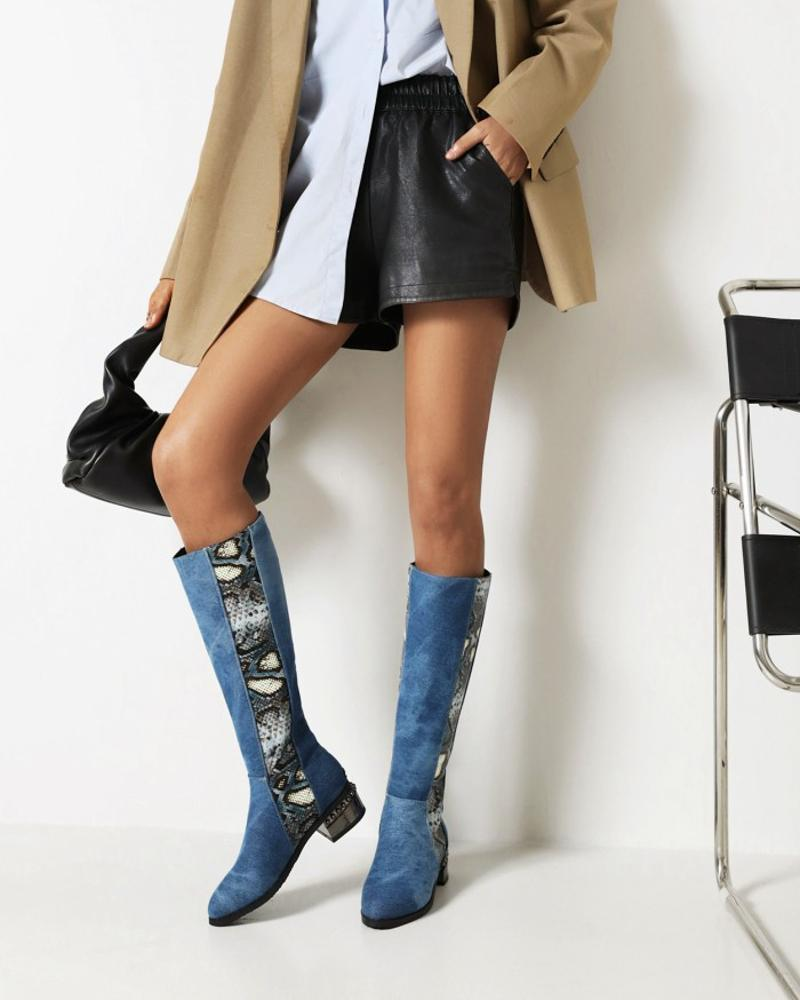 Womens Vintage Colorblock Round Toe Long Boots