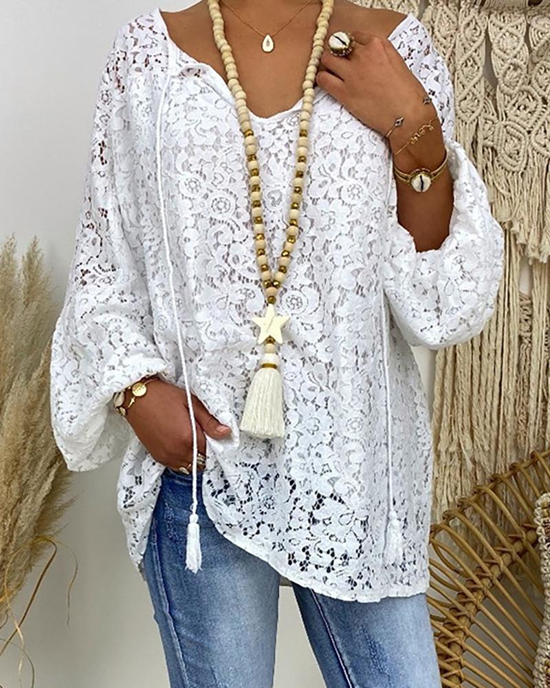 Floral Pattern Lace Long Sleeve Casual Blouse thumbnail